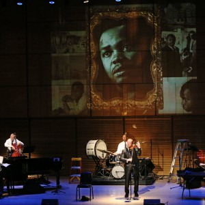 """""""A Distant Drum,"""" with, from left, Ralf Schmid, Vincent Segal, Jason Marsalis, Daniel Hope and Michael Olatuja in this show at Zankel Hall. Credit Ruby Washington/The New York Times"""